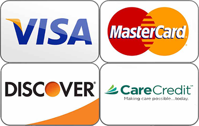 All major credit cards and care credit accepted.