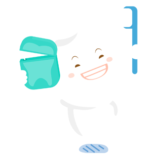 Happy cartoon tooth holding floss and toothbrush.